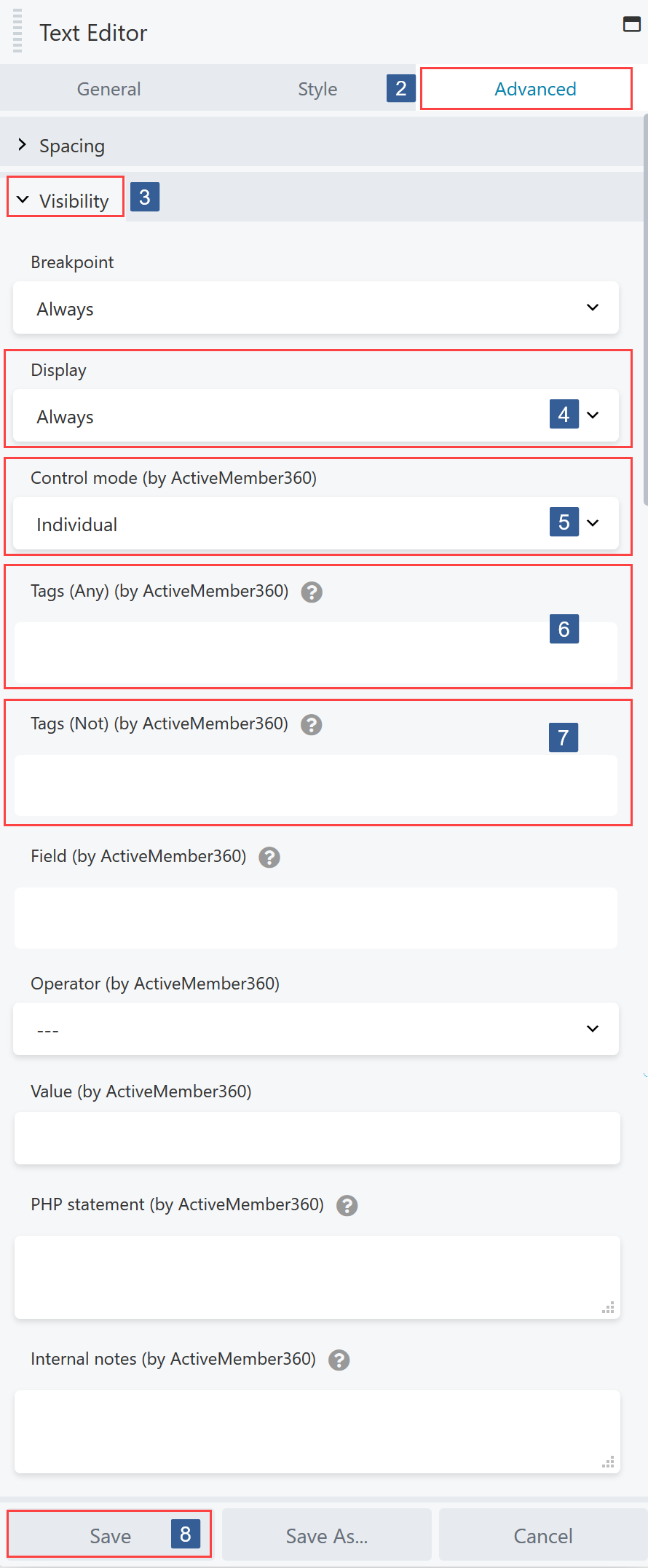 Steps for specifying visibility conditions for Beaver Builder Module/Column/Row based upon contact tags