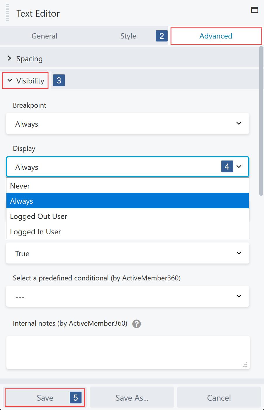Steps for specifying Beaver Builder Module/Column/Row display settings