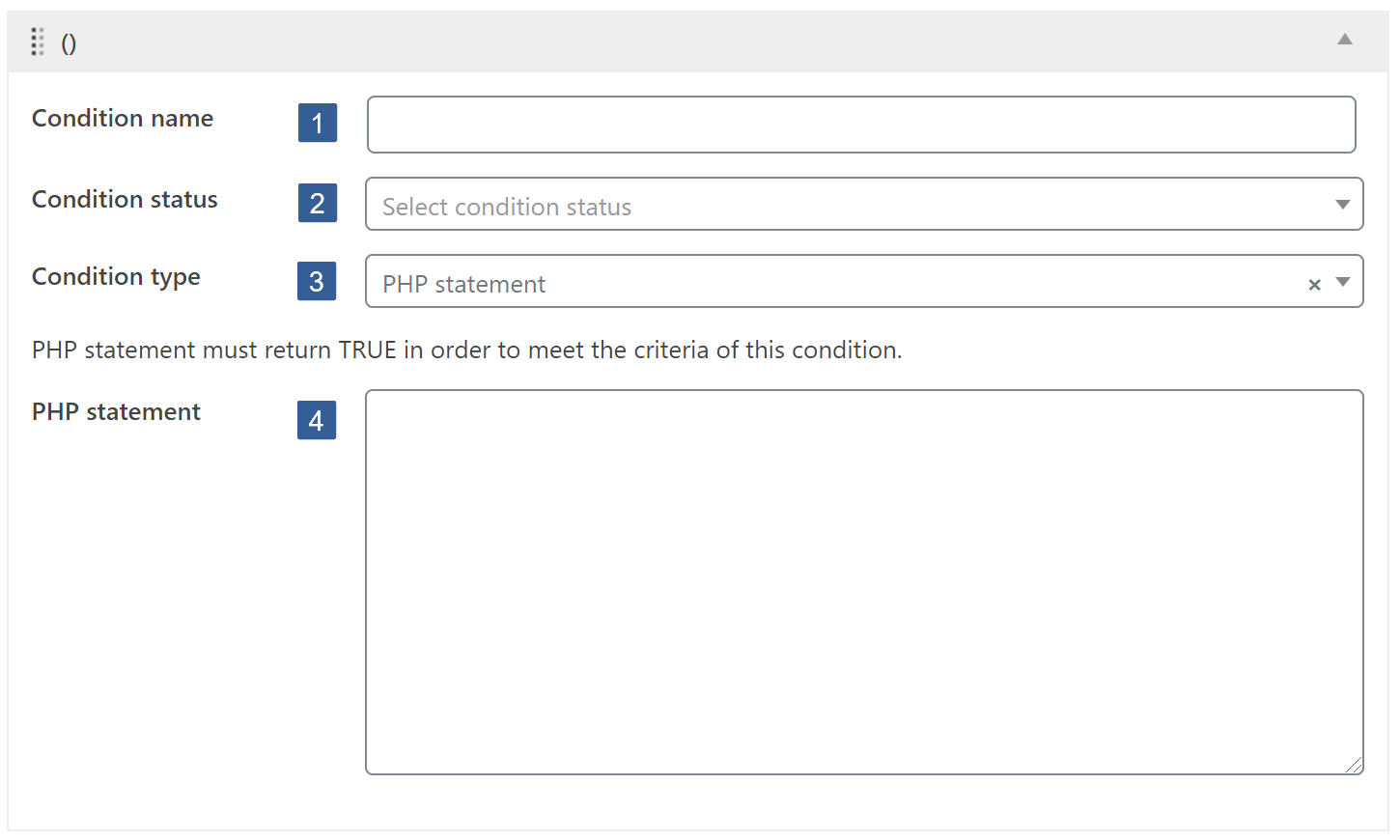 Steps for specifying PHP statement condition