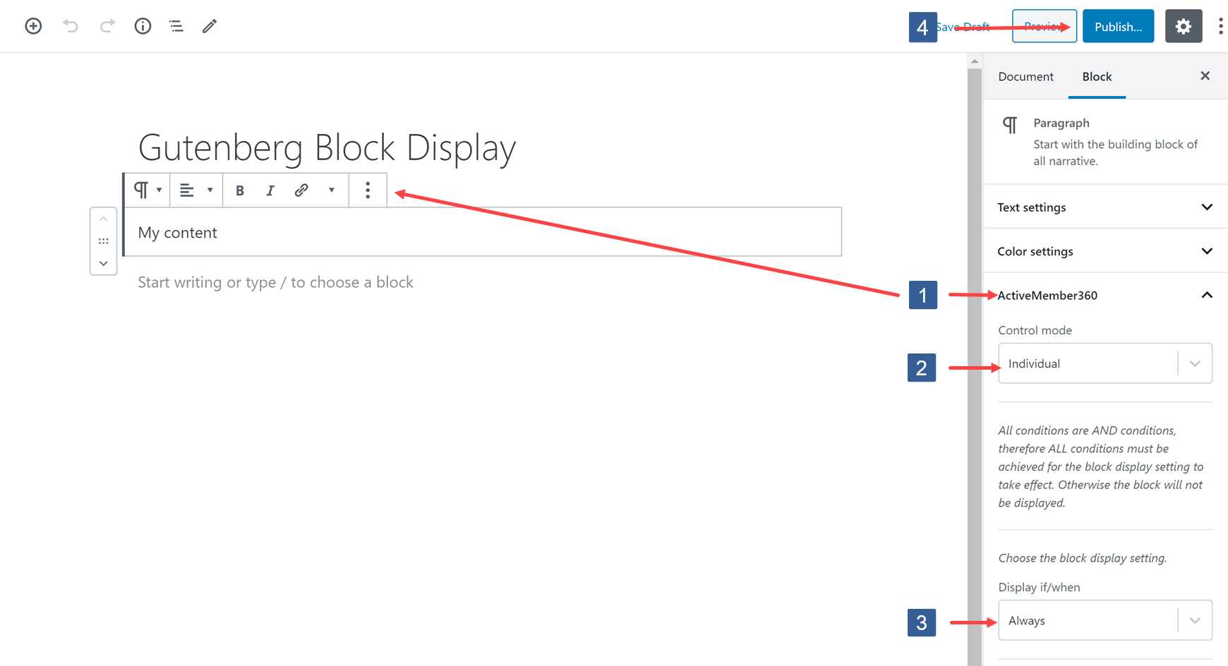Specifying Gutenberg block display settings