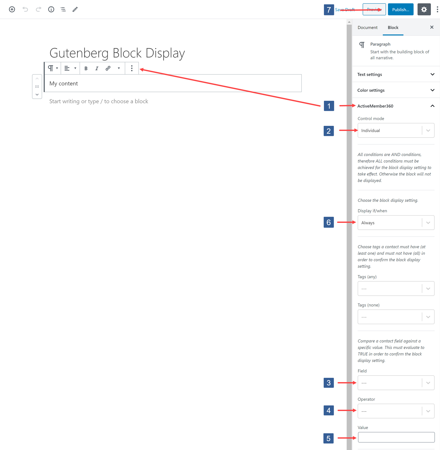 Specifying visibility conditions for Gutenberg block based upon ActiveCampaign contact field value