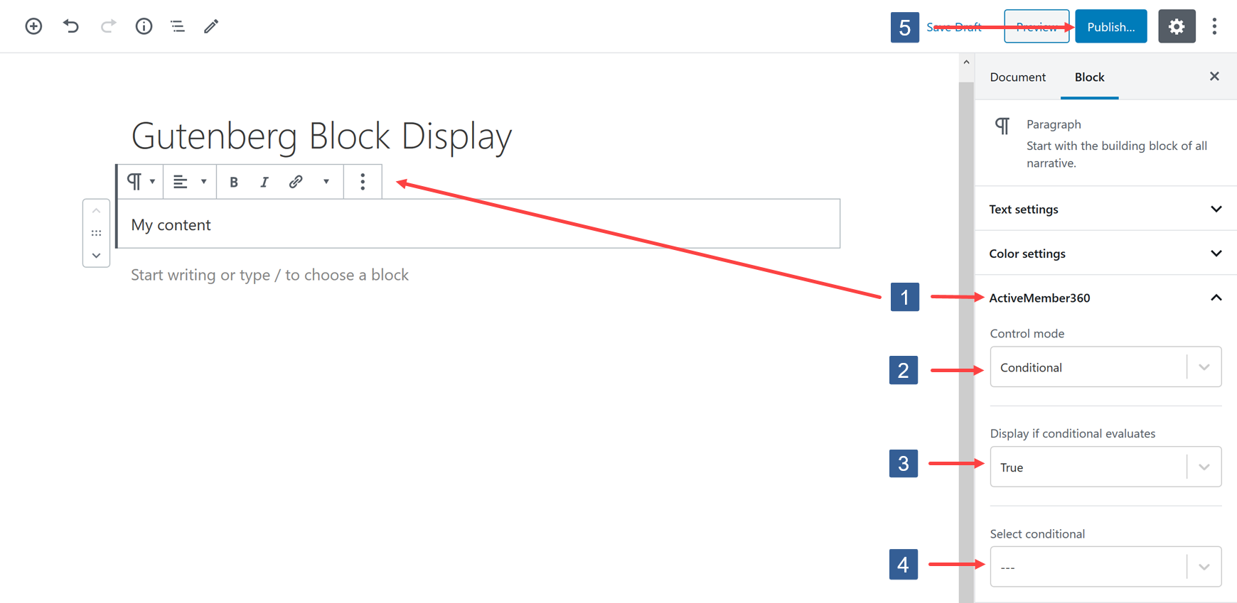 Select a conditional to control Gutenberg block display
